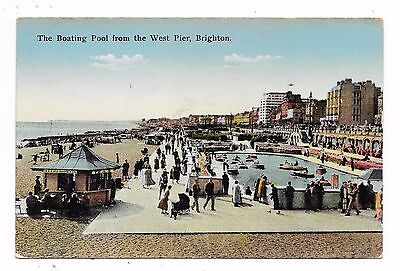 Nice Printed Postcard Of Boating Pool From West Pier Brighton Sussex Posted 1937