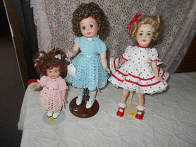 3 Vintage Hand Made Porcelain Dolls Dressed In Hand Made Clothes  Shirley Temple