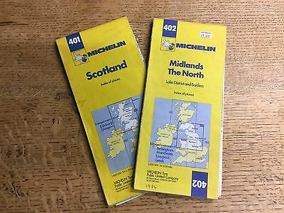 Pair Of Old English/French Michelin British Maps Of Great Britain 1984
