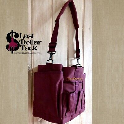 Horseman's Handy Grooming Caddy Bag ~Burgundy Canvas ~ Ideal Show Travel Stable