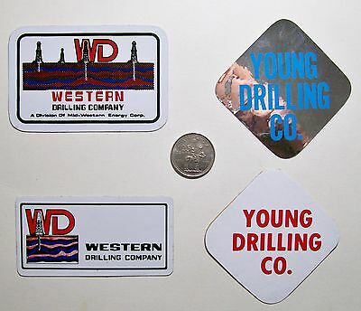 4 Oilfield Hard Hat Stickers / Western Drilling & Young Drilling Co.