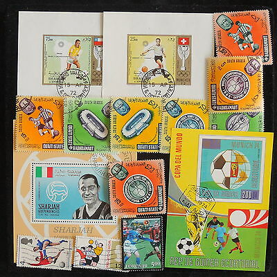 YS-J275 SOUTH ARABIA - Football, Lot Of Sheets And Stamps USED