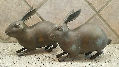 "Set of 2 Solid Brass Rabbit Figurines Labeled DOWCO Solid Brass 6 1/2"" Long"
