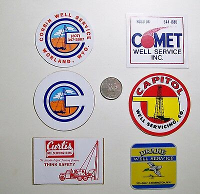 6 Oilfield Hard Hat Stickers / Well Services