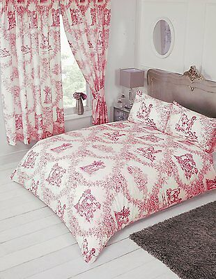 French Country Design Toile De Jouy Bedding Duvet Quilt Cover Set Red Colour