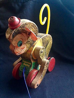 Vtg Fisher Price #798 Chatter Monk Wooden Pull Toy Circus Monkey Rare Toy
