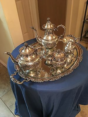 Vintage German Repousse Handarbeit 4pcs Sterling Silver Tea Set with tray
