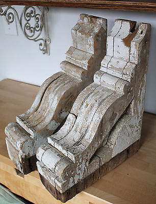 Pair of Antique Architectural Salvage Wooden Corbels Chippy White Paint Set of 2