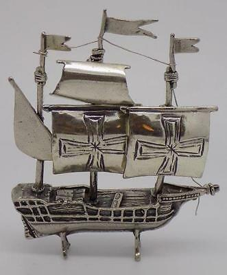 Vintage Solid Silver Crusade Ship Miniature - Stamped - Made in Italy