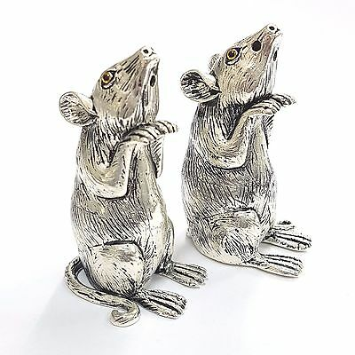 Novelty Victorian Style Mice Mouse Salt and Pepper Shakers 925 Silver Plate