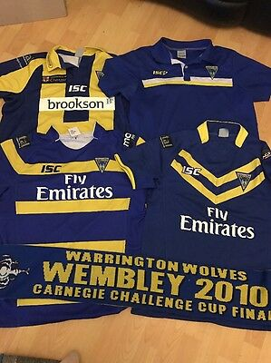 4 Warrington Wolves Rugby Shirts Plus 2010 Scarf Size XL