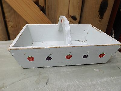 vintage old strawberry cherry pattern garden trug tray basket hand painted 60s ?