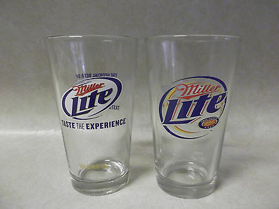 Set Of 2 Miller Lite Glasses With 2 Sets Of Coasters