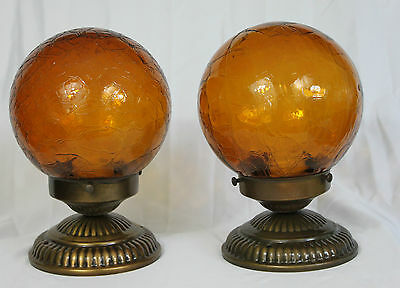 Pair of Vintage Amber Crackle Glass Globe Ceiling Light Fixtures Bases Included