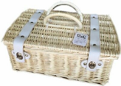 Wicker Basket Storage Picnic Carrier With Liner And Handles