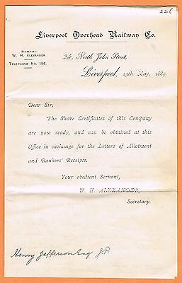 Great Britain 1889 Liverpool Overhead Railway Co. share notice