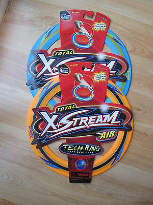 Four Total X-Stream Air Tech Ring Frisbees Orange and Blue NEW