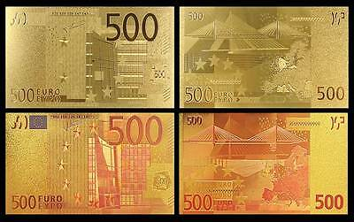24k Gold Plated & Colourised €500 Euro Banknotes – Set Of 2 - Bill Note Europe