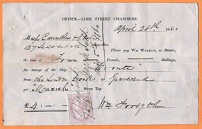 MARITIME Great Britain 1860 payment for towing London to Gravesend