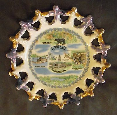 Vintage Tennessee   State Travel Souvenir Landmark  Reticulated CollectorPlate