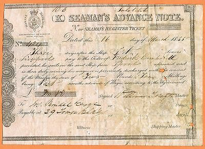 MARITIME Great Britain 1855 Seaman's Advance Note