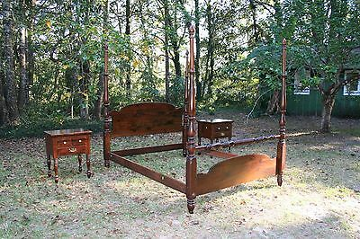 Vintage Ethan Allen queen-size 4-Poster bed with matching night stands