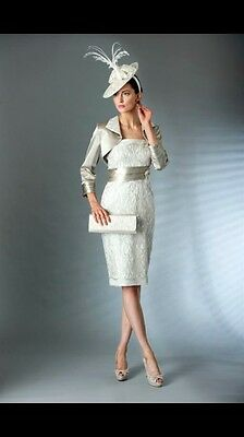 Mireia Botis Designer Mother Of The Bride Wedding Outfit! Size 10-12 Silver! Hat