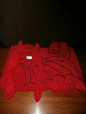 0-12M Red Lil Devil Baby Blanket Gift Set 4Pc.Devil Baby Booties,Bonnet,Blanket