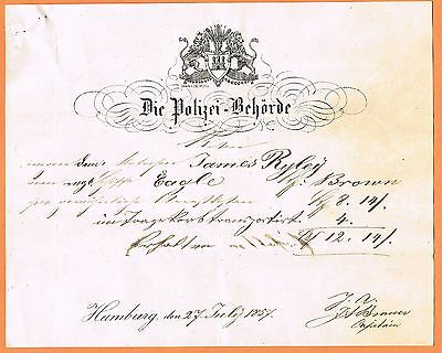 MARITIME Germany 1857 Hamburg Police Authority for vessel 'Eagle'
