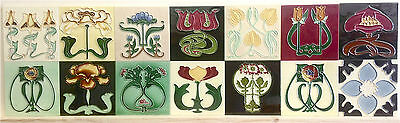 14 x INDIVIDUAL ART NOUVEAU TILE COLLECTION TUBELINED MAJOLICA Fireplace MINT