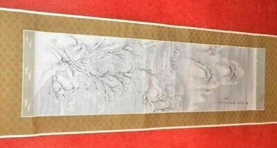Very Old 7' Tall Original Japanese Wall Hanging SIGNED & STAMPED  Hand painted