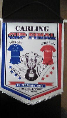 Chelsea v Liverpool Carling Cup Final signed pennant