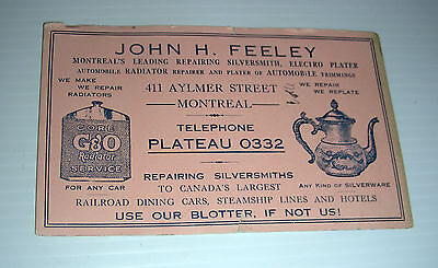 vintage MONTREAL SILVERSMITH ad blotter early century Plateau 0332
