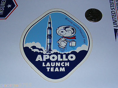 "Vintage ""Apollo Launch Team"" Snoopy Astronaut Sticker/Decal + stamp NASA"