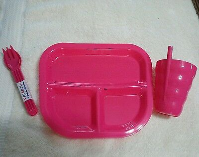 Sip Cup ,fork Spoon ,divided Tray Pink For Girls New
