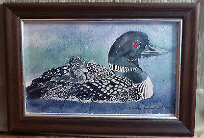 Original Handmade Watercolor Painting of Loon Sister Dorothy Hucksoll SP 5.5x8.5