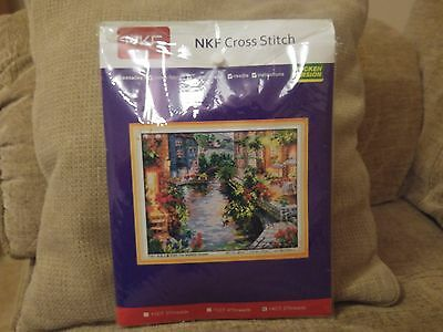 Nkf Cross Stitch Kit, 'the Lakeside Houses', Thicken Version