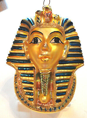"Large 5"" Tall Glass Blown KING TUT Ornament - Kurt Adler Polonaise Collection"