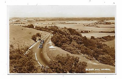 Superb Real Photographic Postcard Of Bury Hill Arundel Sussex Old Cars