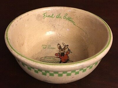 Vintage Ralston Purina Children's Bunny Cereal Bowl From/Dated 1925 Well Loved