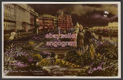 SUSSEX REAL PHOTO POSTCARD - Carpet Gardens, Eastbourne, by Moonlight