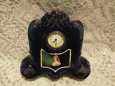 Antiques Austrian Art Nouveau Joseph Strnact cobalt blue mantle clock
