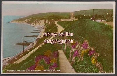 SUSSEX REAL PHOTO POSTCARD - Western Parades and Holywell, Eastbourne 2100