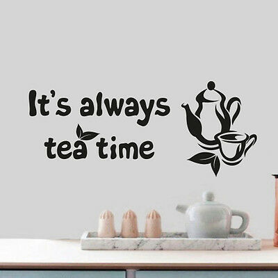 Tea Time Quote Home Wall Cup Decor Vinyl Sticker Decal Mural Art Decoration Art