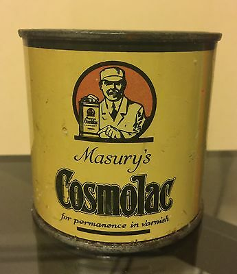Antique Masury Cosmolac Paint Varnish Metal 1/2 Pint Advertising Can Full