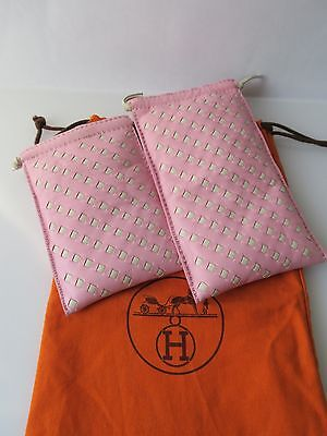 Auth HERMES Eyeglass and Sunglass Case Woven Leather in Pink and White