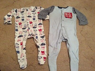 2x Boys Mothercare Sleepsuits Size 0-3 Months EXCELLENT CONDITION