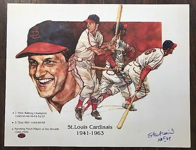 CARDINALS STAN MUSIAL AUTOGRAPHED SIGNED 16x20 BASEBALL POSTER STM COA JSA PSA