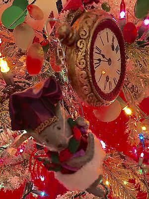 Katherine's Collection Mouse Hanging From Clock Christmas Ornament