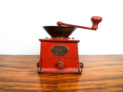 Antique Coffee Grinder 19th C Cast Iron A Kenrick & Sons Red Metal Herb Mill